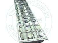 Base metálica tipo rejilla Ecotrend para 2 tubos LED de 1.2 MTS.